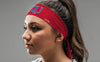 red heathered headband with University of Kansas K U logo in white and royal blue on female