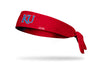 red heathered headband with University of Kansas K U logo in white and royal blue