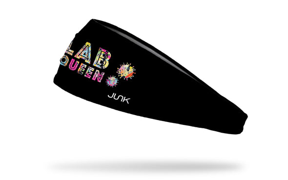 black medical themed headband with multicolor Lab Queen wordmark