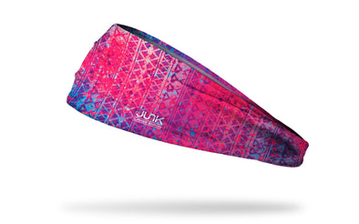 pink and blue headband with repeating pattern tribal print and paint splatter