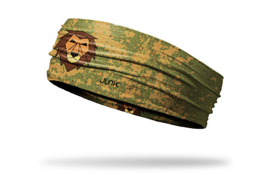 khaki and green print headband with geometric lion in center