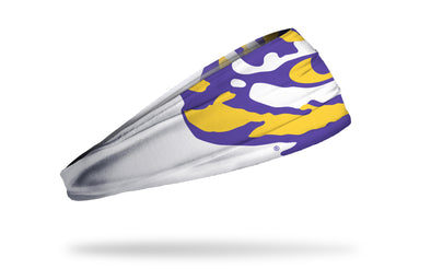 white headband with Louisiana State University tiger eye logo in purple and gold