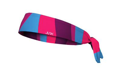 colorful color block headband in magenta neon pink purple and light blue