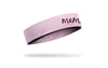 pink mother's day themed headband with mama wordmark in black