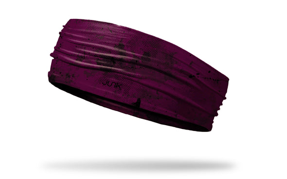 maroon headband with grunge overlay design