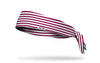 maroon red and white striped headband