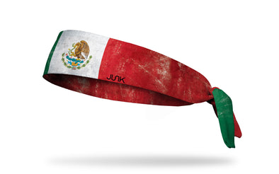 headband with traditional Mexico flag design with grunge overlay