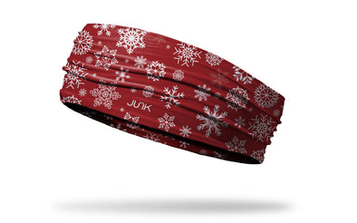 white snowflake on red wide headband left side