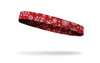 white snowflakes on red thin headband left side