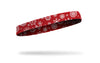 white snowflakes on red thin headband right side