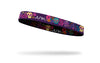 brightly colored sugar skulls and flowers on thin band headband