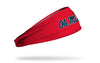 red headband with University of Mississippi Ole Miss wordmark in navy with white outline