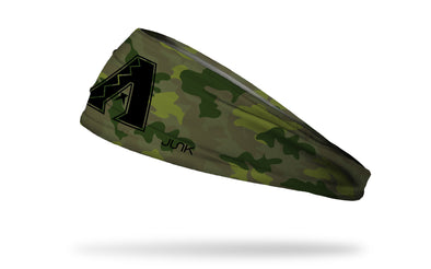 Green camo headband with arizona diamondbacks logo in black