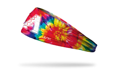 colorful tie dye headband with Arizona Diamondbacks logo in white
