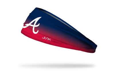navy to red gradient headband with Atlanta Braves logo in white
