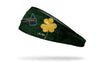 green headband with gold shamrock to right of Atlanta Braves Tomahawk logo