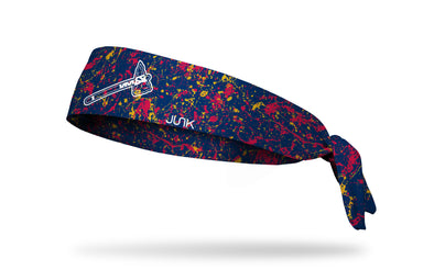 paint splatter headband with Atlanta Braves tomahawk logo in white