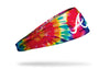 colorful tie dye headband with Atlanta Braves logo in white