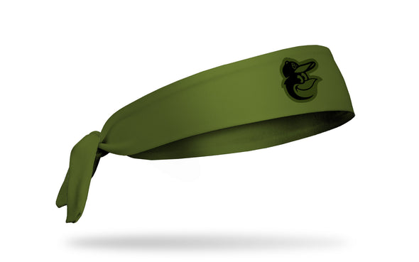 olive green headband with Baltimore Orioles bird logo in black