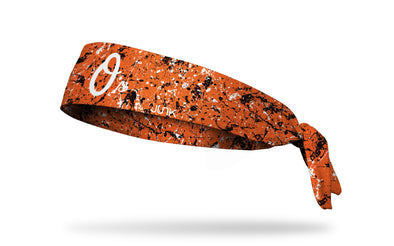 paint splatter headband with Baltimore Orioles logo in white