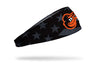 black and white american flag headband with Baltimore Orioles logo in full color