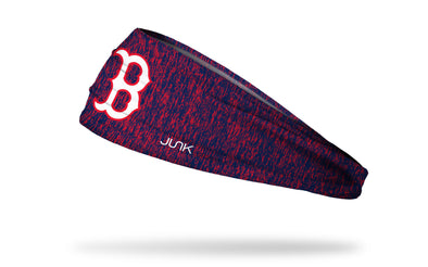 static headband with Boston Red Sox logo in white