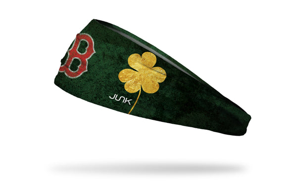 green headband with gold shamrock to right of Boston Red Sox logo