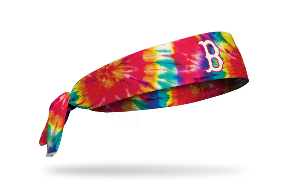 colorful tie dye headband with Boston Red Sox logo in white