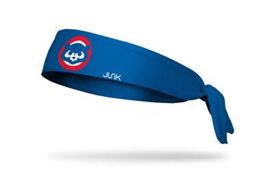 blue headband with Chicago Cubs vintage angry bear logo front center