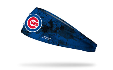 grunge overlay headband with Chicago Cubs logo in white