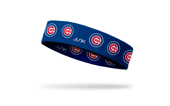 blue headband with Chicago Cubs repeating classic C Cubs logo in red white and blue