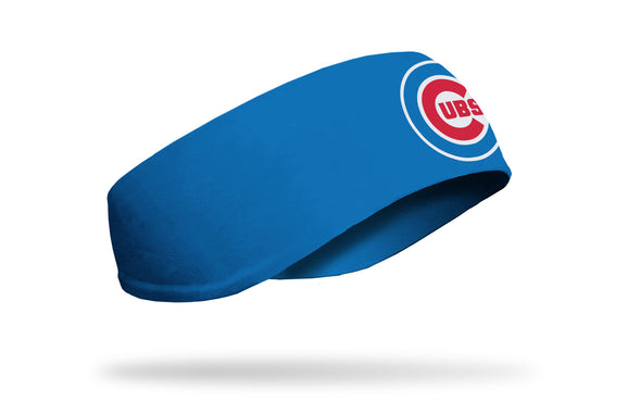 blue ear warmer with Chicago Cubs classic C Cubs logo in red white and blue