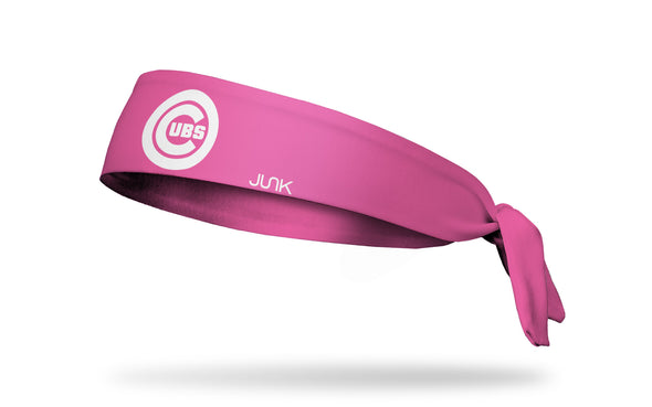 Pink headband with chicago cubs logo in pink
