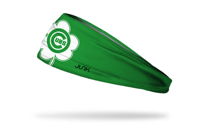 green headband with Chicago Cubs logo on white shamrock