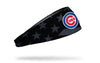 black and white american flag headband with Chicago Cubs logo in full color
