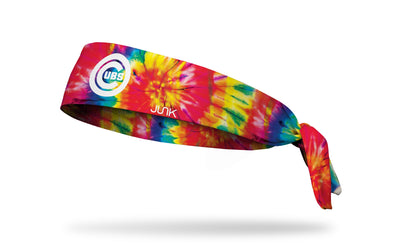 colorful tie dye headband with Chicago Cubs logo in white