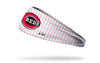 white red pinstripe headband with Cincinnati Reds logo