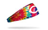 colorful tie dye headband with Cincinnati Reds logo in white