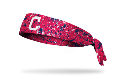 paint splatter headband with Cleveland Indians logo in white