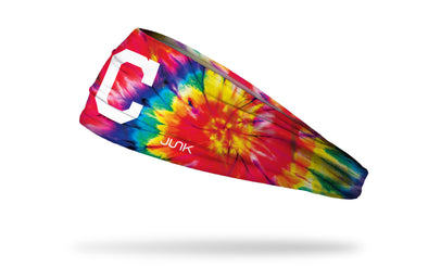 colorful tie dye headband with Cleveland Indians logo in white