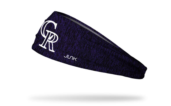 static headband with Colorado Rockies logo in white