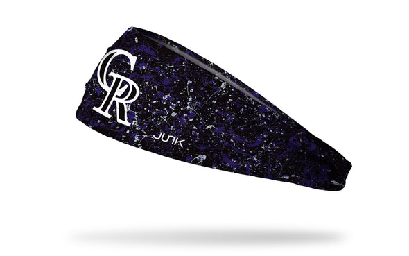 paint splatter headband with Colorado Rockies logo in white