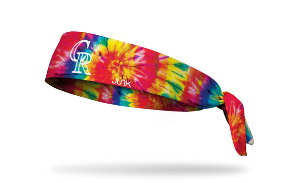 colorful tie dye headband with Colorado Rockies logo in white