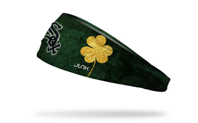 green headband with gold shamrock to right of Chicago White Sox logo