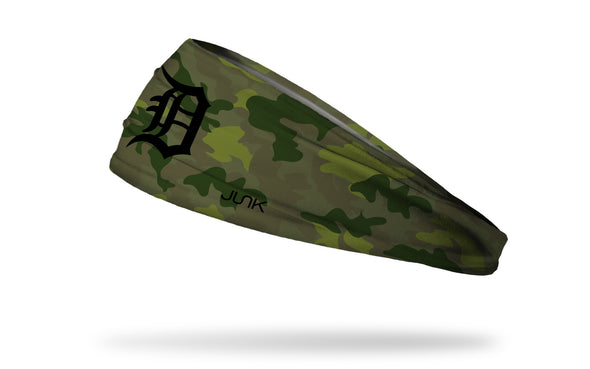 green Camo headband with Detroit tigers logo in black