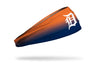 orange to blue gradient headband with Detroit Tigers logo in white