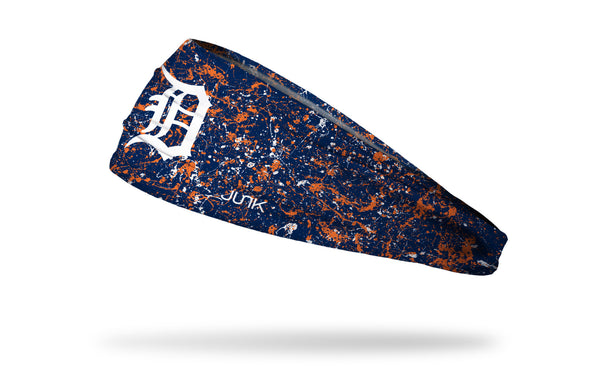 paint splatter headband with Detroit Tigers logo in white