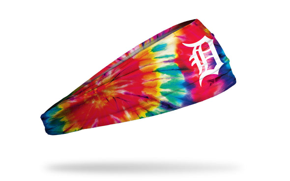 colorful tie dye headband with Detroit Tigers logo in white