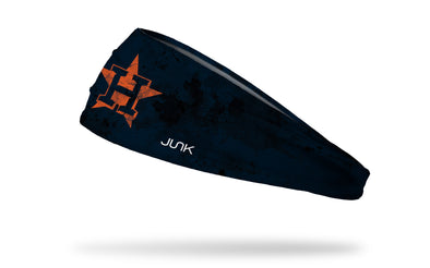 grunge overlay headband with Houston Astros logo in white