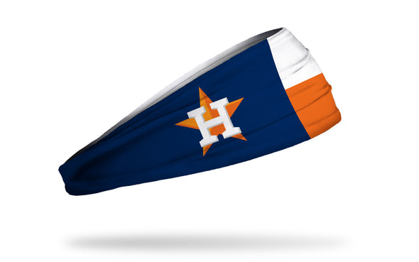 texas state flag headband done in white orange and navy with Houston Astros logo in place of star